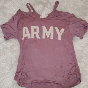 Adorable Cold Shoulder Ripped Army Shirt